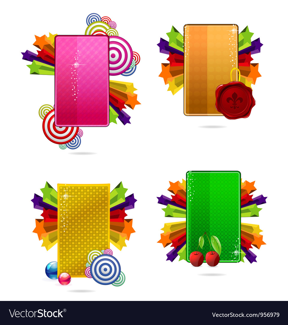 Glass colored creative cards set vector | Price: 1 Credit (USD $1)