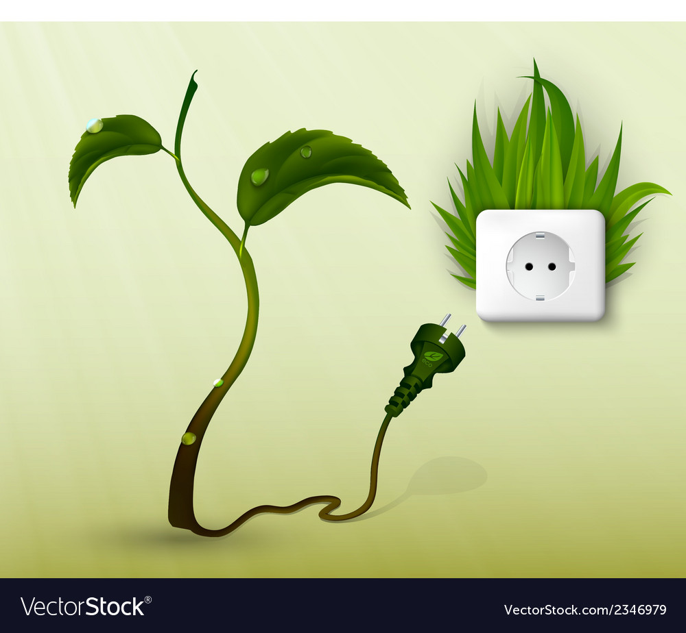 Green grass and a socket with plugs vector | Price: 1 Credit (USD $1)