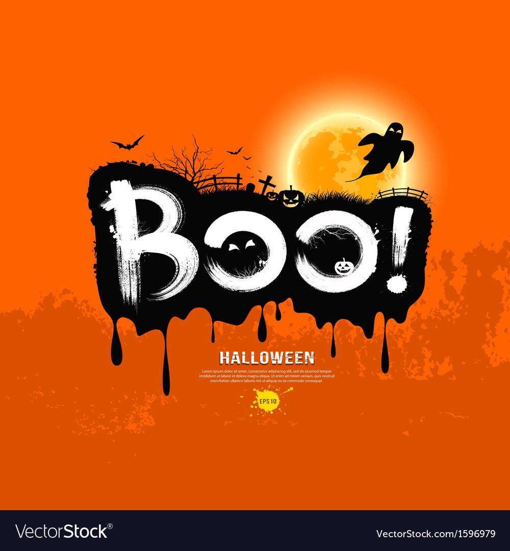 Halloween message boo design vector | Price: 1 Credit (USD $1)