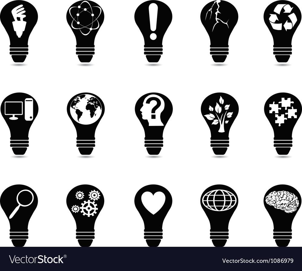 Light bulb idea icons set vector