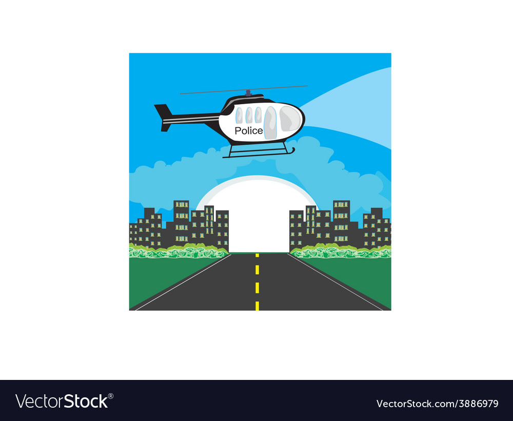 Police helicopter patrolling the city at night vector | Price: 1 Credit (USD $1)