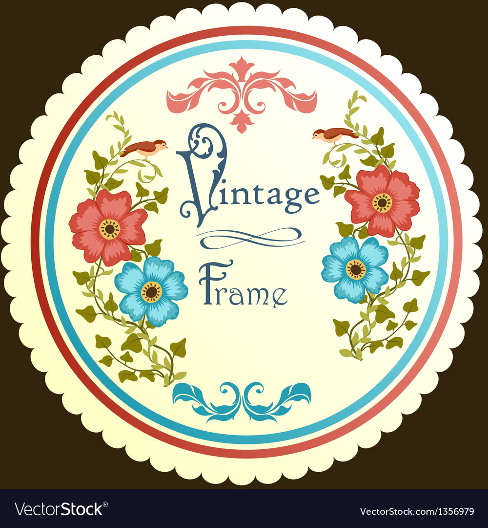 Retro floral round label vector | Price: 1 Credit (USD $1)