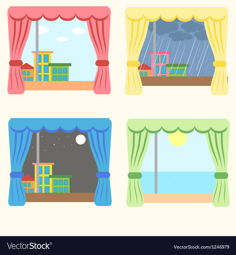 Set of four windows vector | Price: 1 Credit (USD $1)