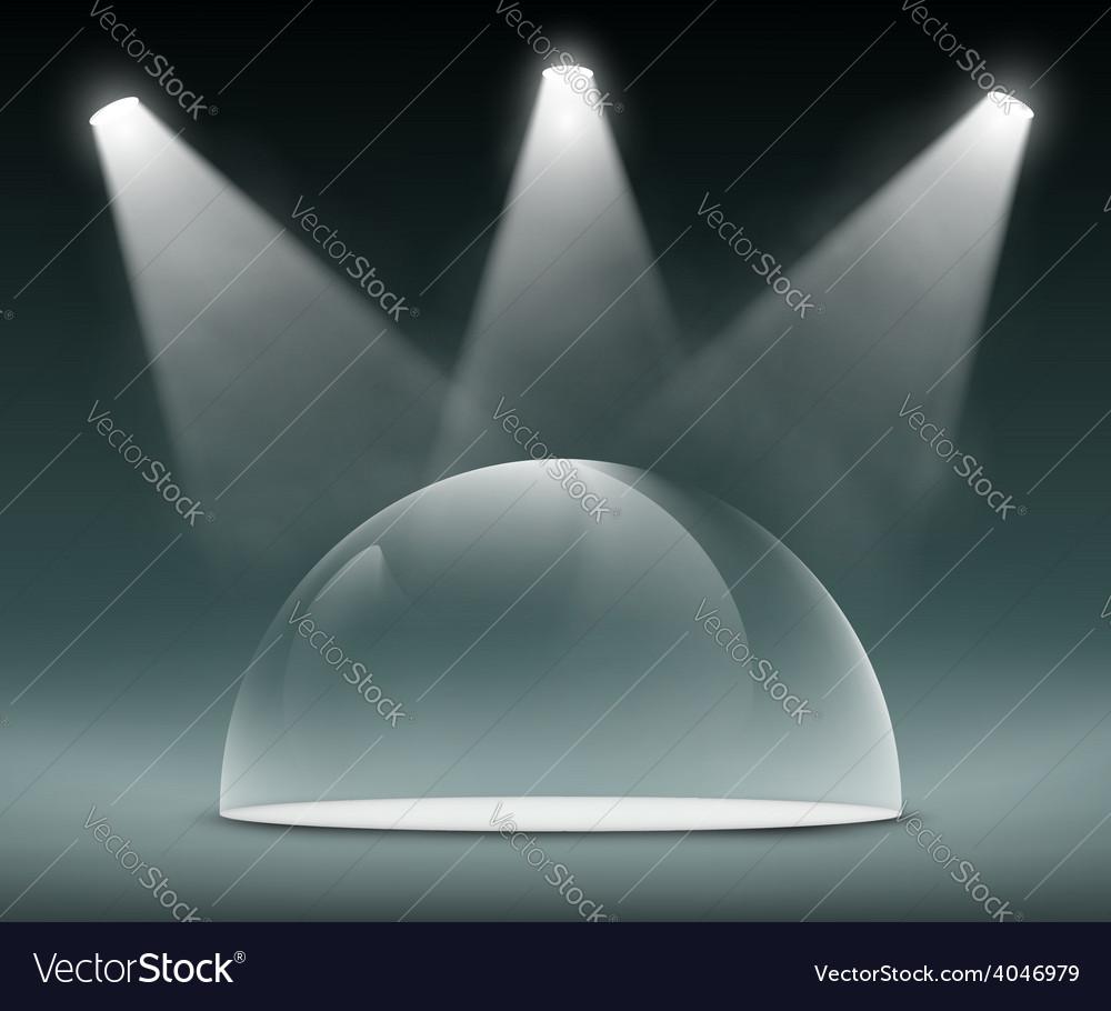 Spotlights illuminate the glass dome vector | Price: 1 Credit (USD $1)
