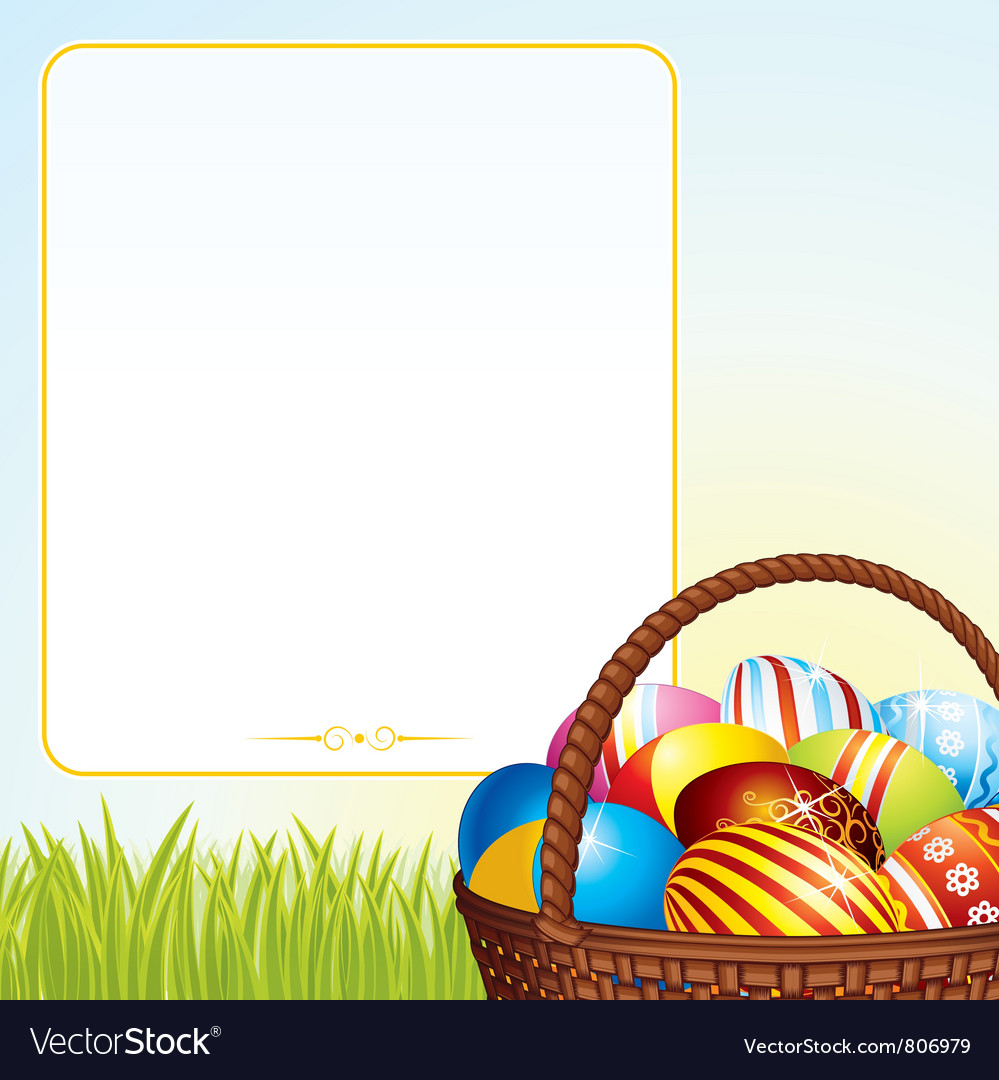 Spring easter basket vector | Price: 3 Credit (USD $3)