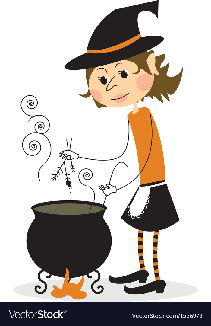 Witch and cauldron vector | Price: 1 Credit (USD $1)