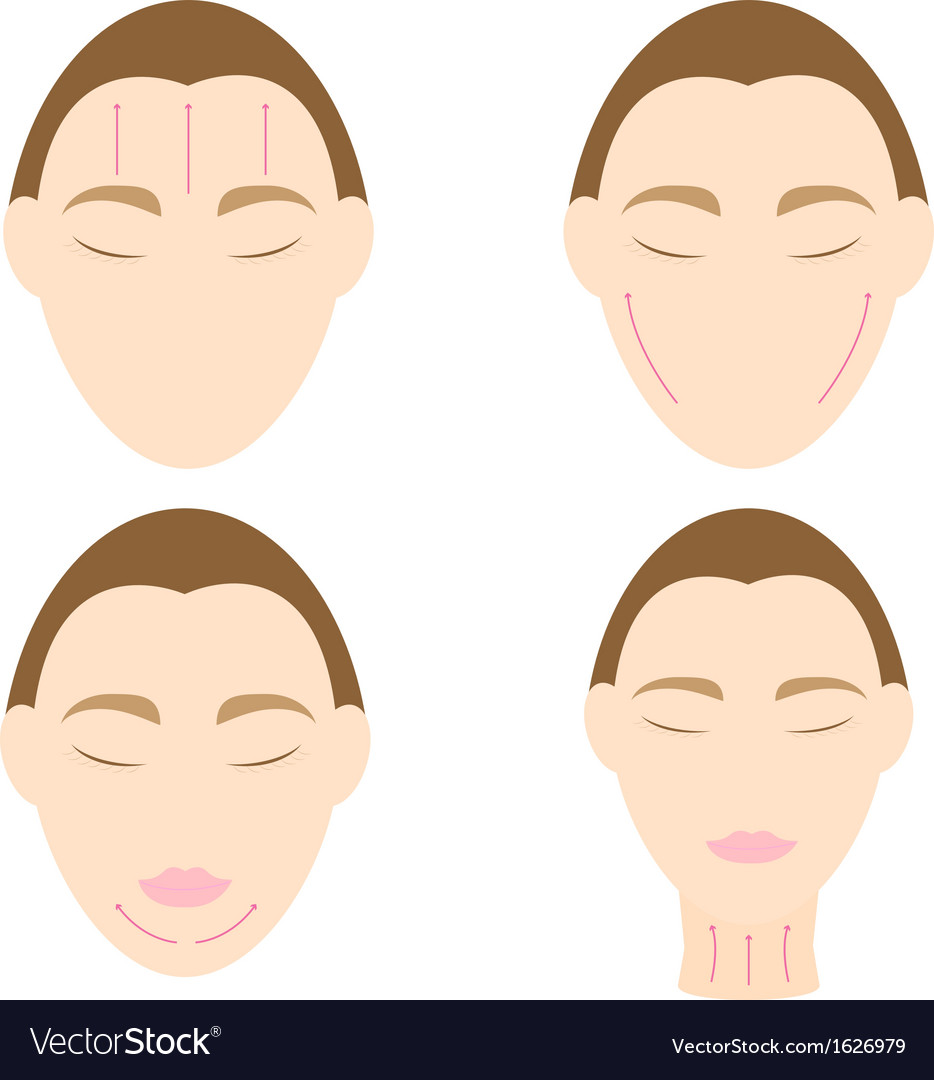 Woman easy massage anti face wrinkle 2 vector | Price: 1 Credit (USD $1)