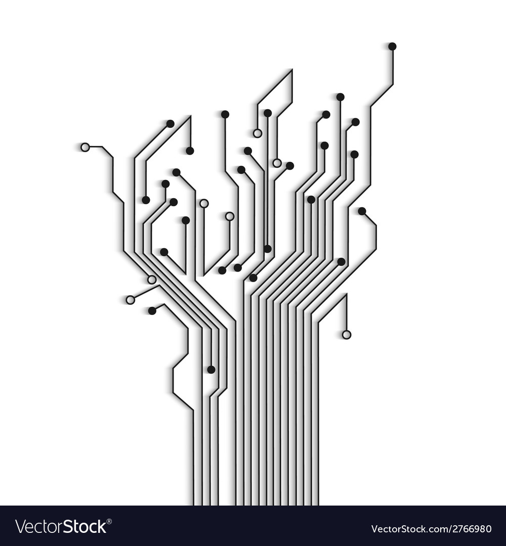 Abstract circuit tree with shadow vector | Price: 1 Credit (USD $1)