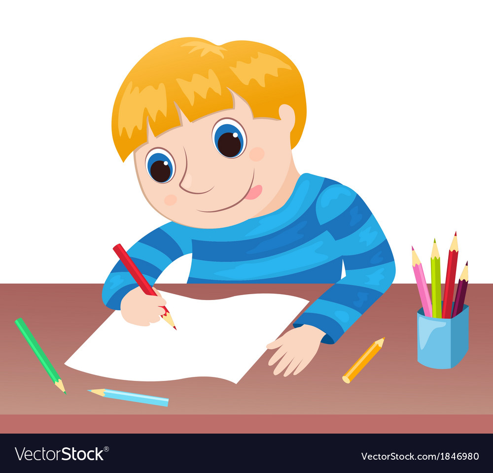 The boy draws at a table vector | Price: 1 Credit (USD $1)