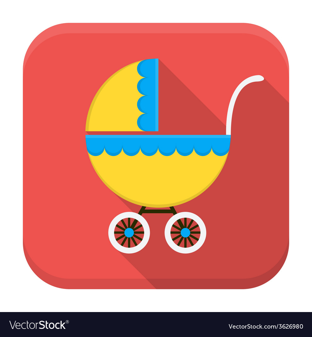 Children buggy app icon with long shadow vector   Price: 1 Credit (USD $1)