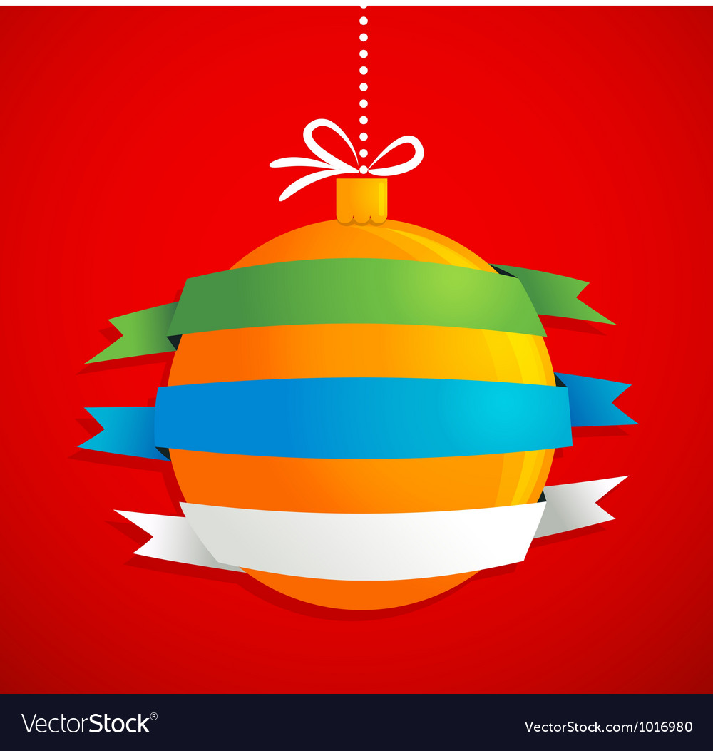 Christmas ball with ribbons and text space vector | Price: 1 Credit (USD $1)