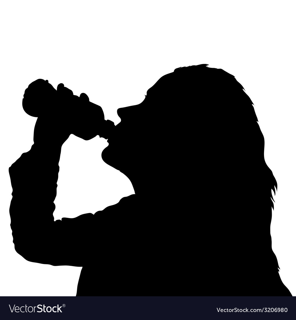 Girl drinking water from bottle black silhouette vector | Price: 1 Credit (USD $1)