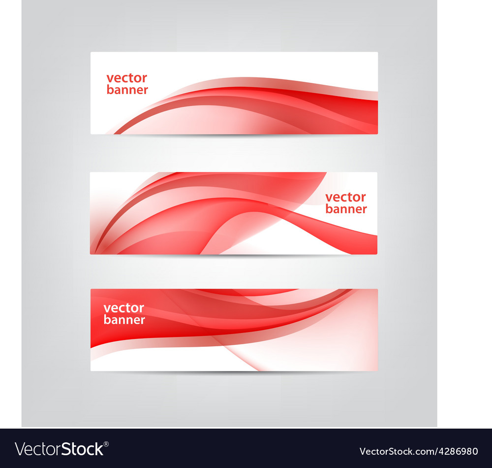 Set of wavy red banners vector | Price: 1 Credit (USD $1)