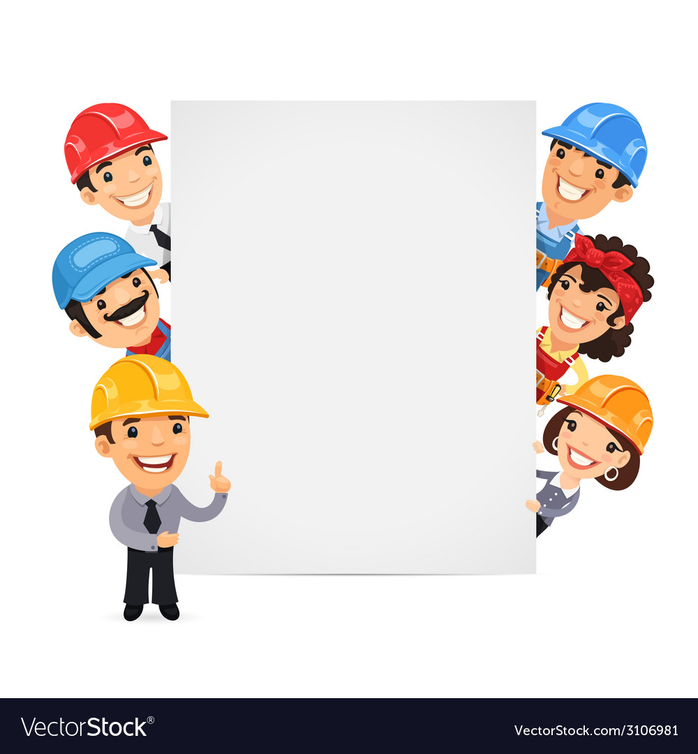 Builders presenting empty vertical banner vector | Price: 1 Credit (USD $1)