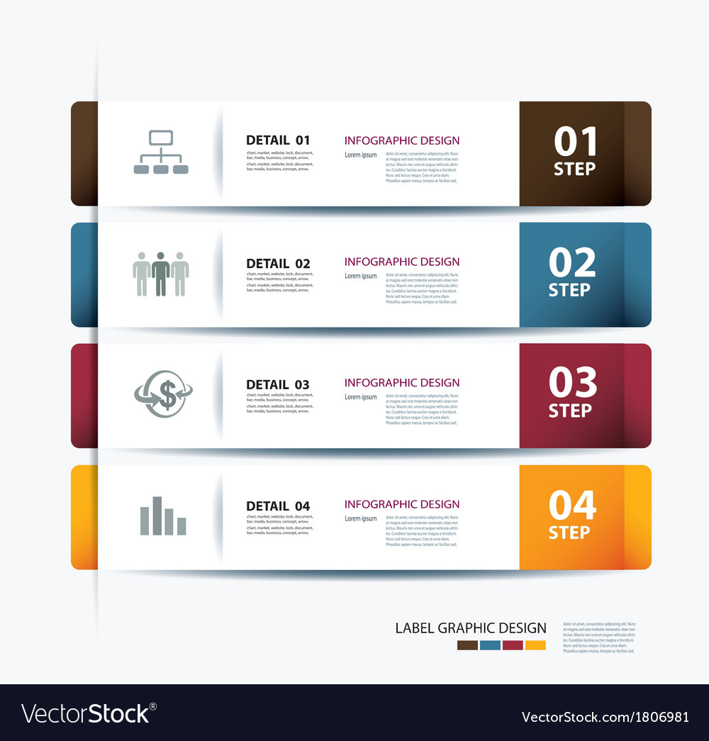 Business step paper data and numbers template vector | Price: 1 Credit (USD $1)