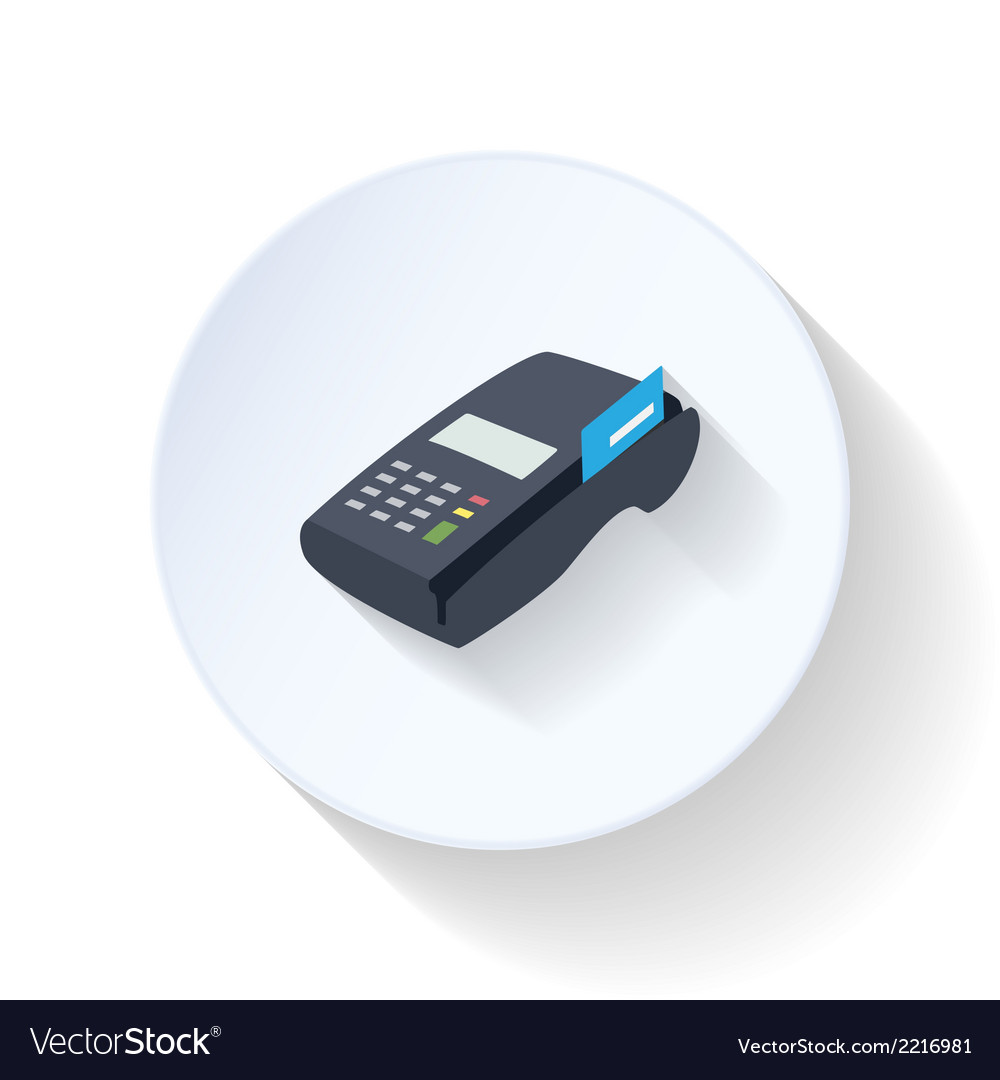 Credit card terminal flat icon vector | Price: 1 Credit (USD $1)