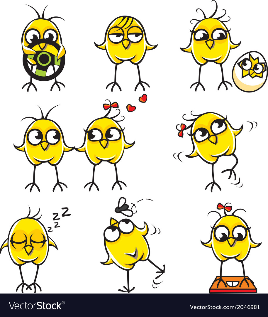 Funny chickens individually grouped vector | Price: 1 Credit (USD $1)