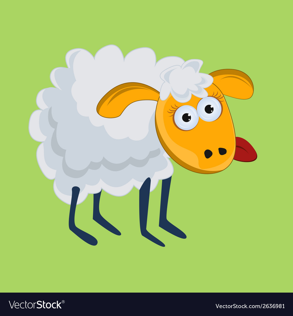 Funny sheep with his tongue hanging out vector | Price: 1 Credit (USD $1)
