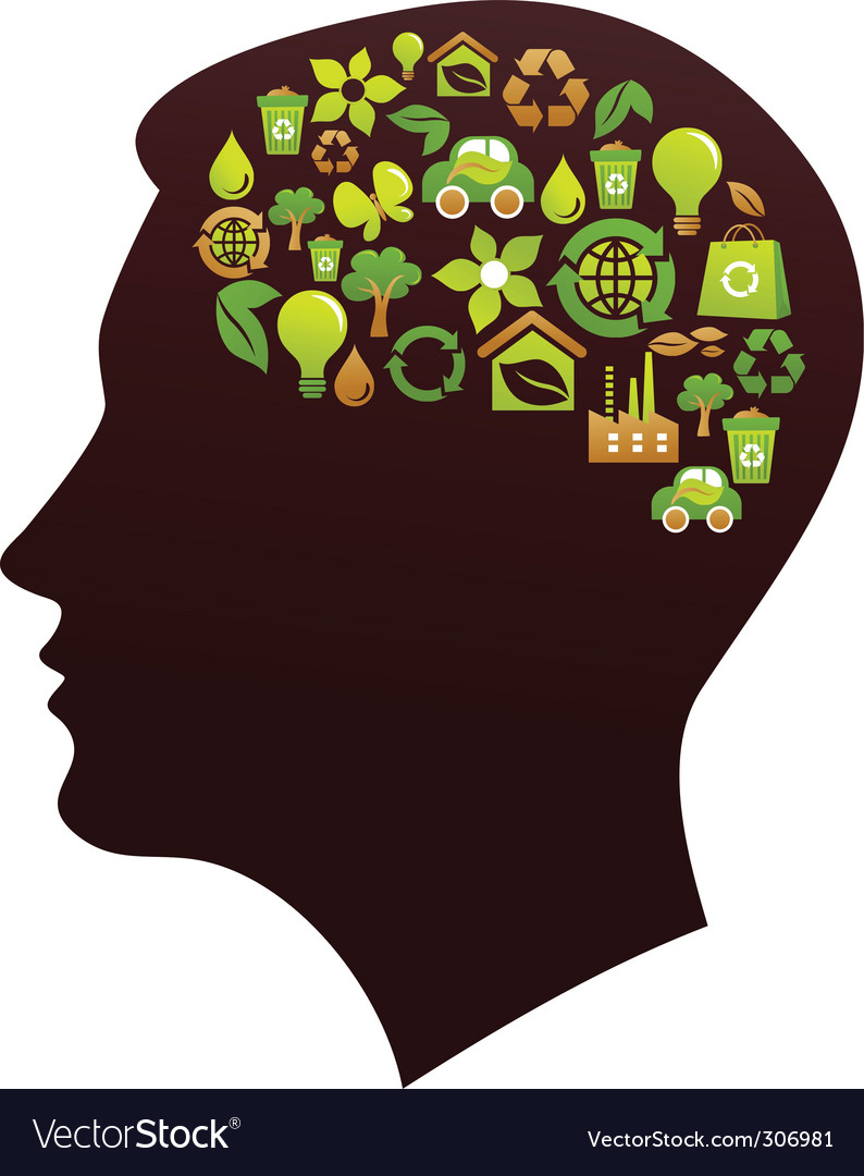Human head with eco icons vector | Price: 1 Credit (USD $1)