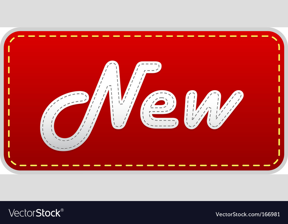Red label with new text vector | Price: 1 Credit (USD $1)