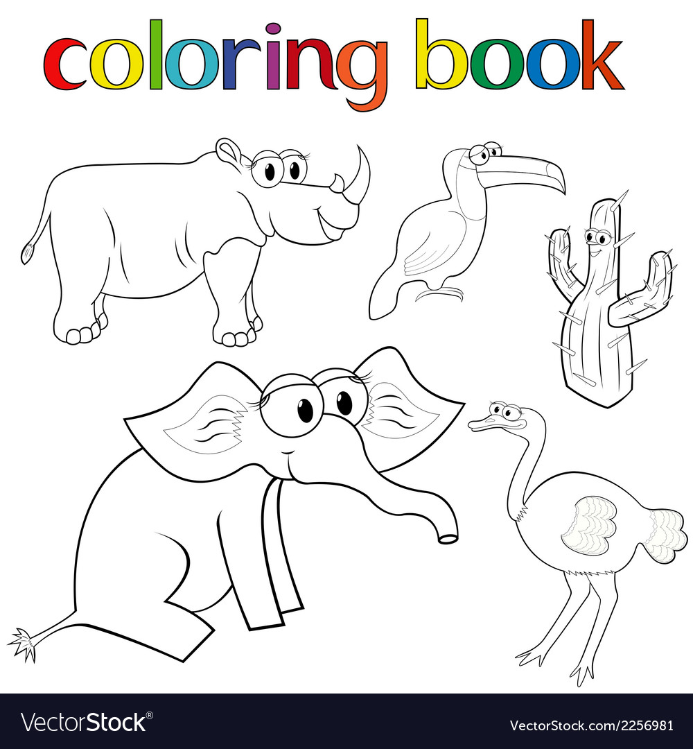 Set of animals and cactus for coloring book vector | Price: 1 Credit (USD $1)