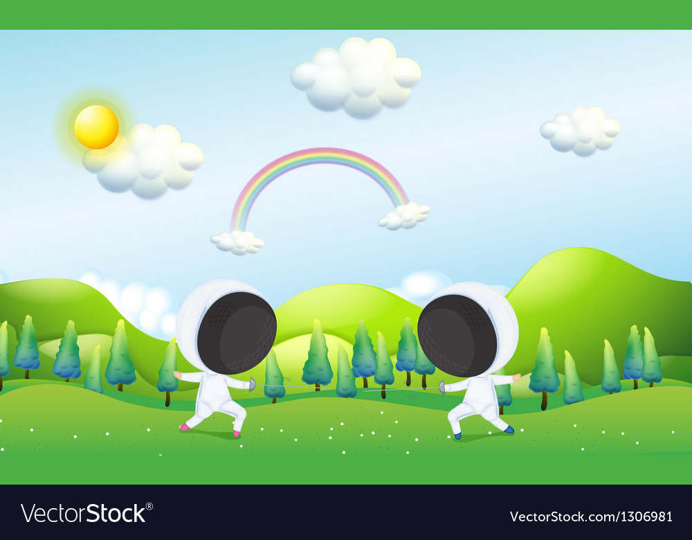Two kids fencing vector | Price: 1 Credit (USD $1)