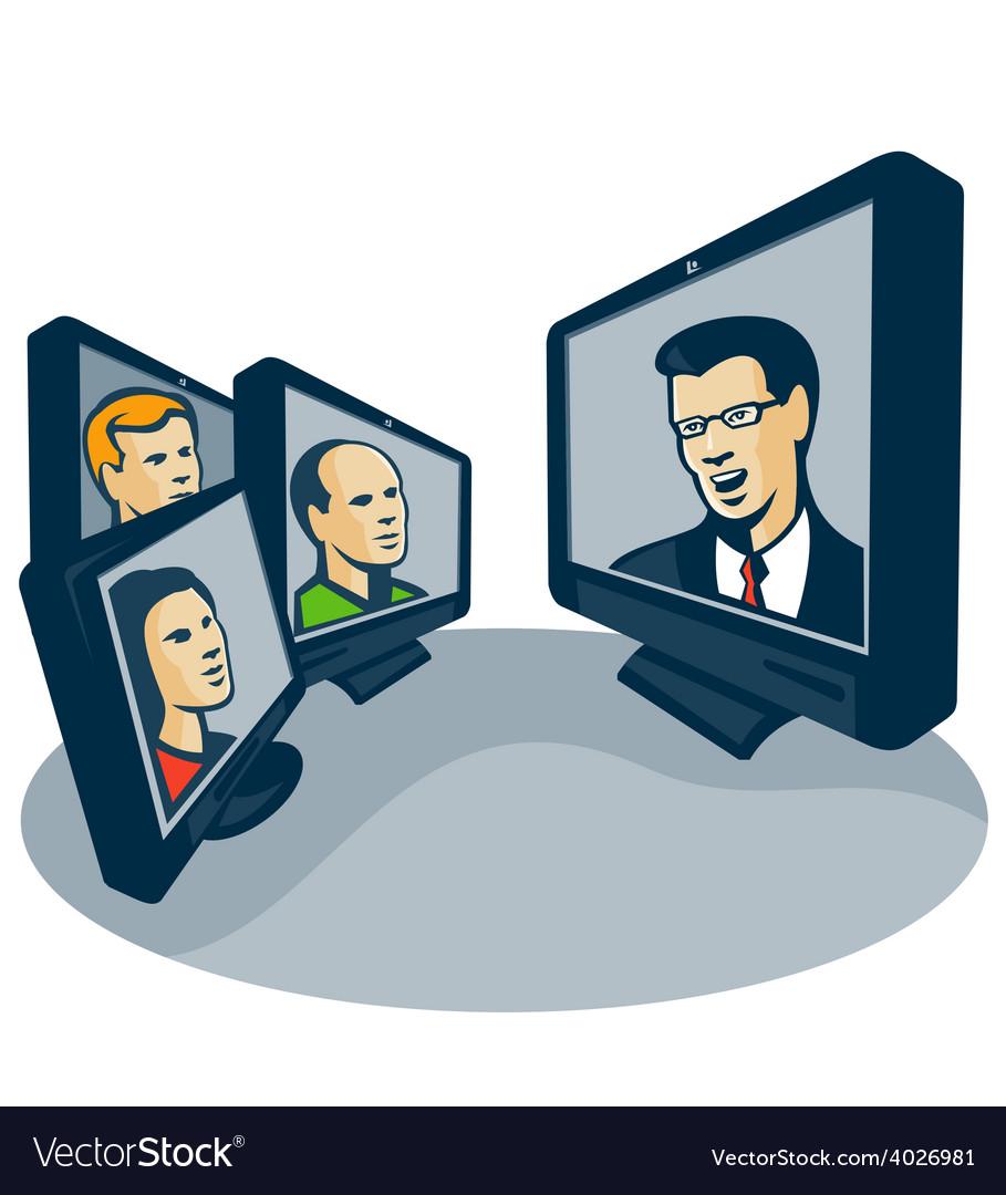 Webinar video conference retro vector   Price: 1 Credit (USD $1)