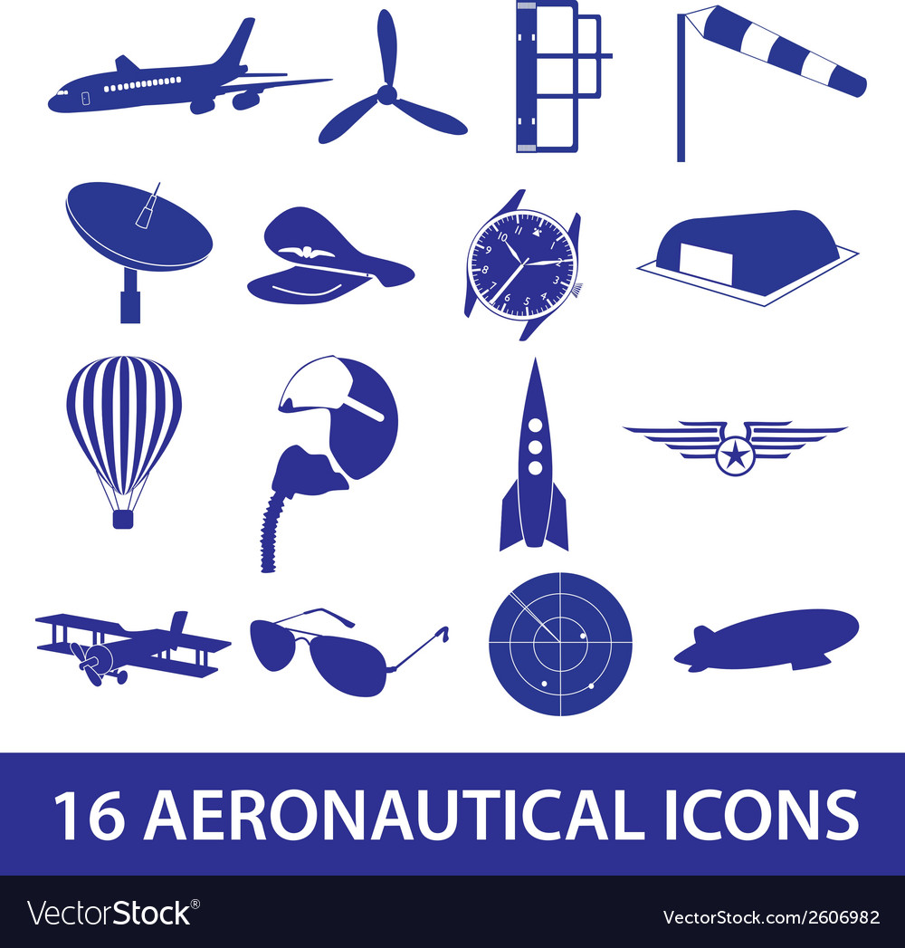 Aeronautical icons set eps10 vector | Price: 1 Credit (USD $1)
