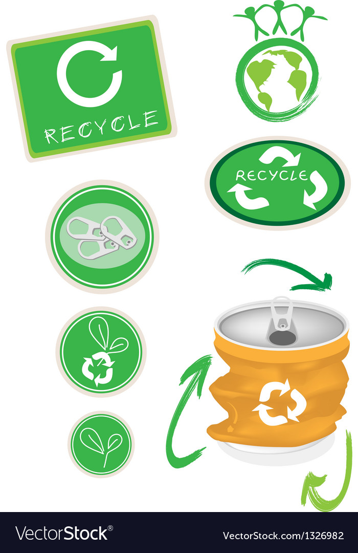 Aluminum can with recycle symbol for save world vector | Price: 1 Credit (USD $1)