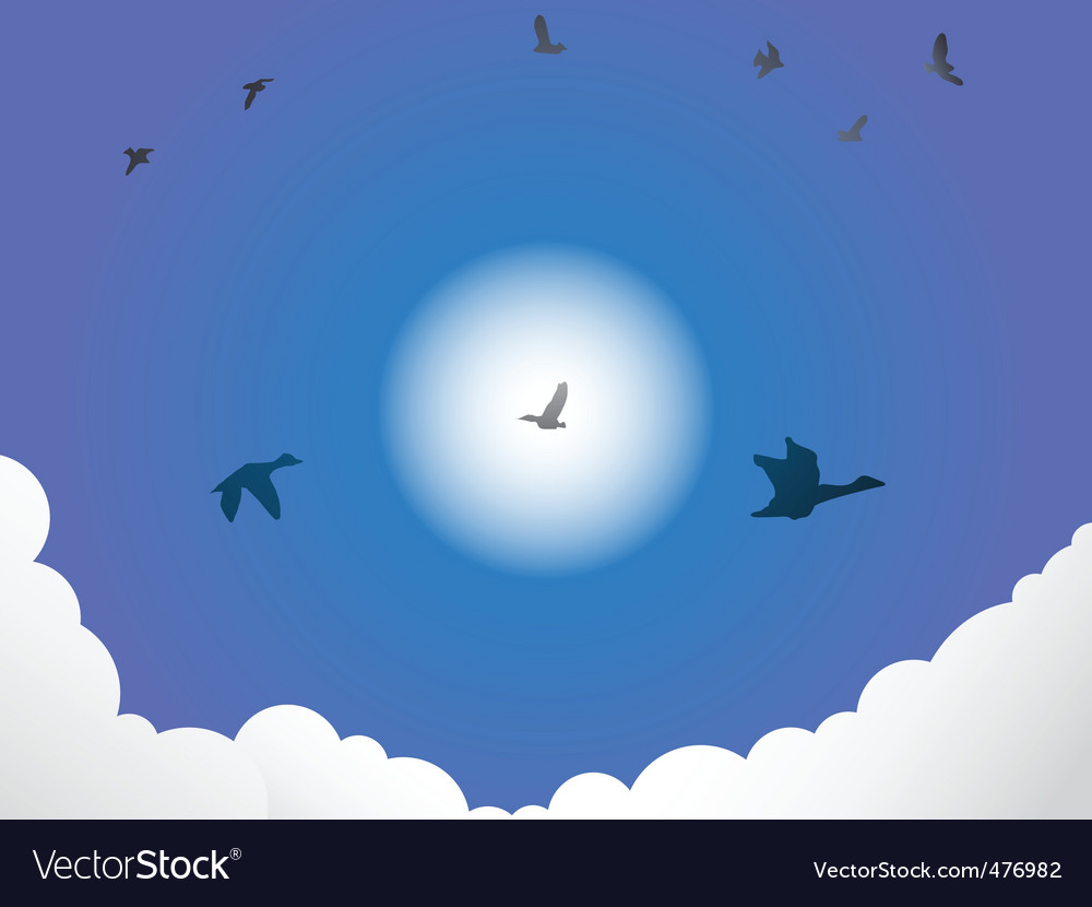 Birds flying past sun vector | Price: 1 Credit (USD $1)
