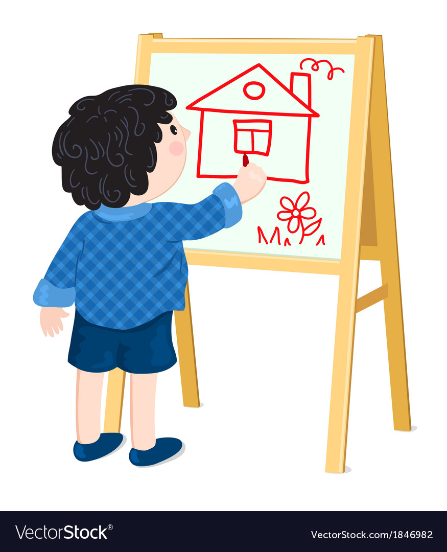 Boy drawing house vector | Price: 1 Credit (USD $1)