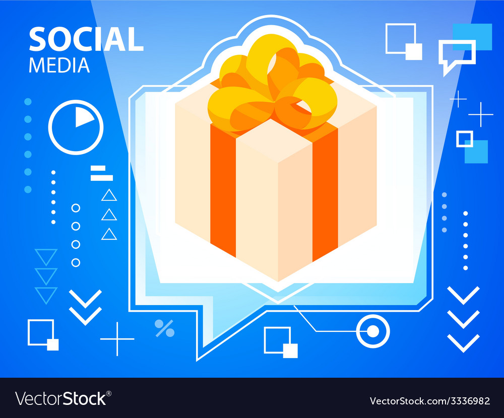 Bright speech bubble and gift box with bow o vector | Price: 3 Credit (USD $3)