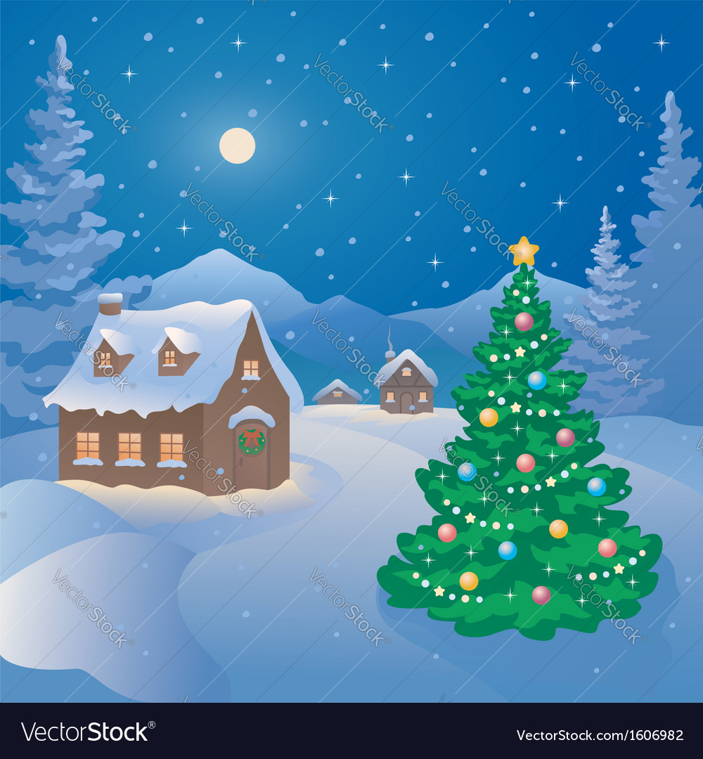 Christmas mountain village vector | Price: 3 Credit (USD $3)