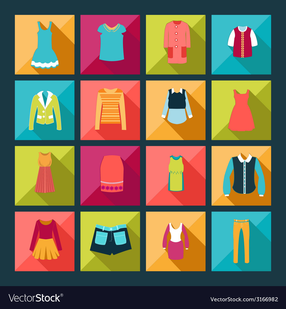 Fashion clothes in flat design style vector | Price: 1 Credit (USD $1)