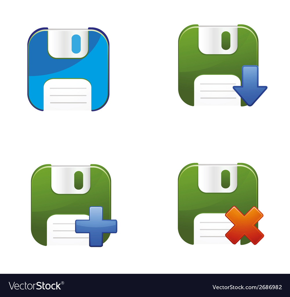 Floppy disks set vector | Price: 1 Credit (USD $1)