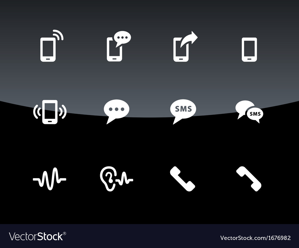 Phone icons on black background vector | Price: 1 Credit (USD $1)