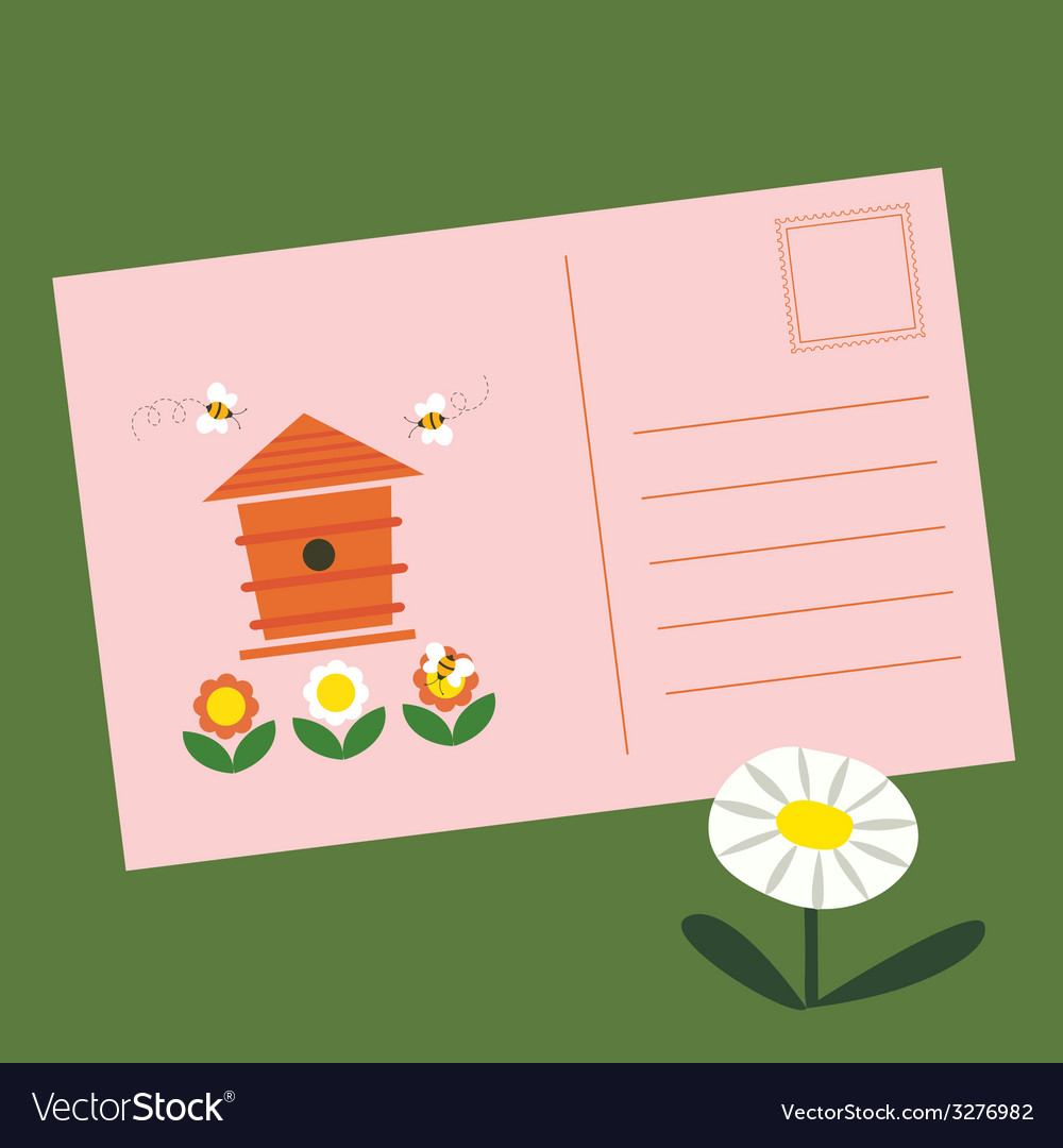 Post card with beehive and bees vector | Price: 1 Credit (USD $1)