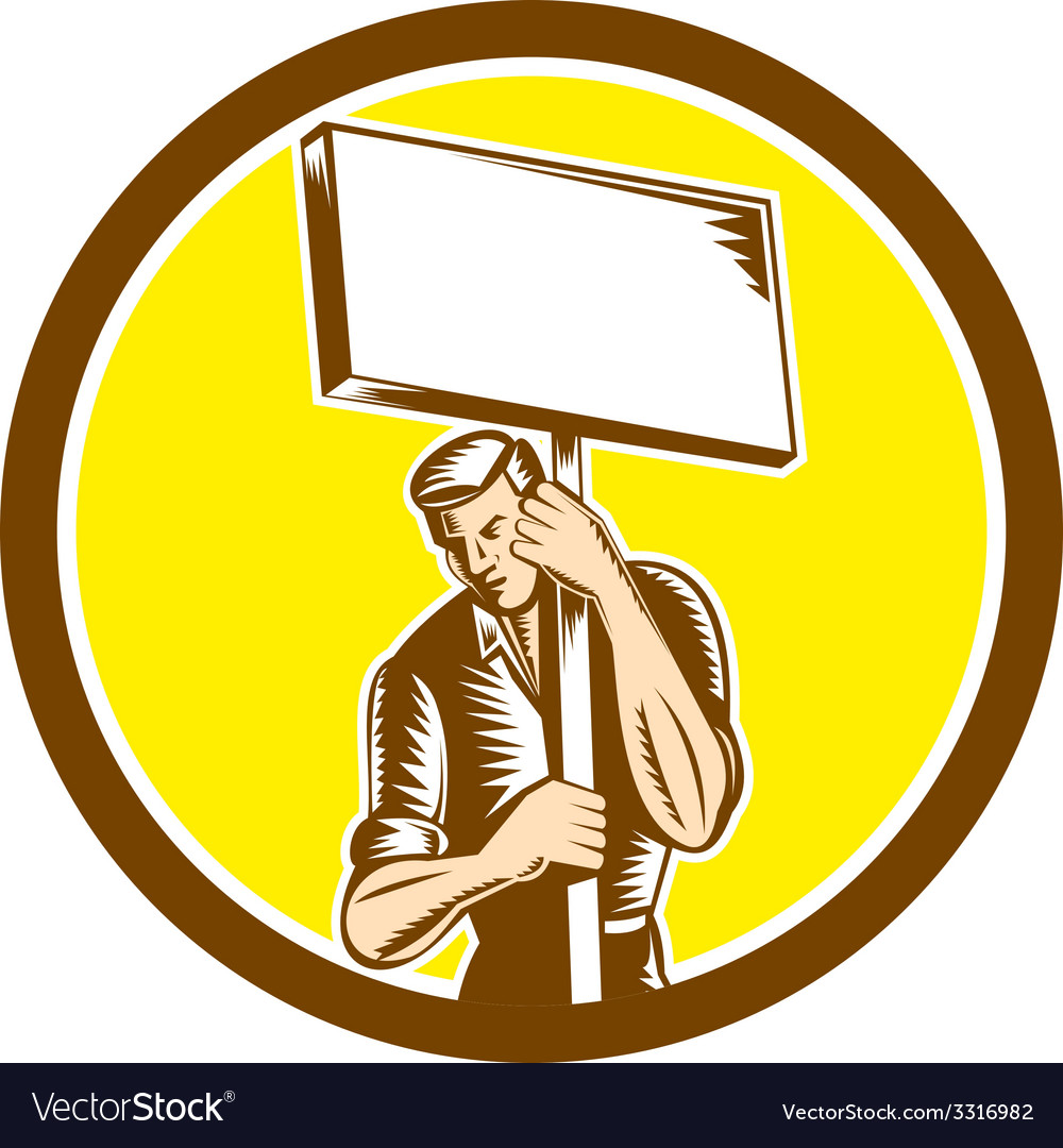 Protester activist union worker placard sign vector | Price: 1 Credit (USD $1)