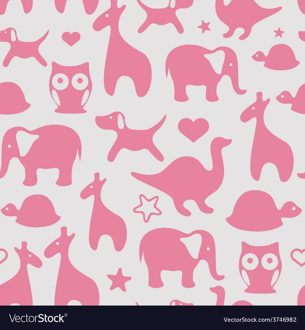 Seamless print with cartoon animals for girls vector | Price: 1 Credit (USD $1)