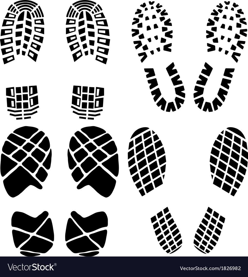 Set of black footprints vector | Price: 1 Credit (USD $1)
