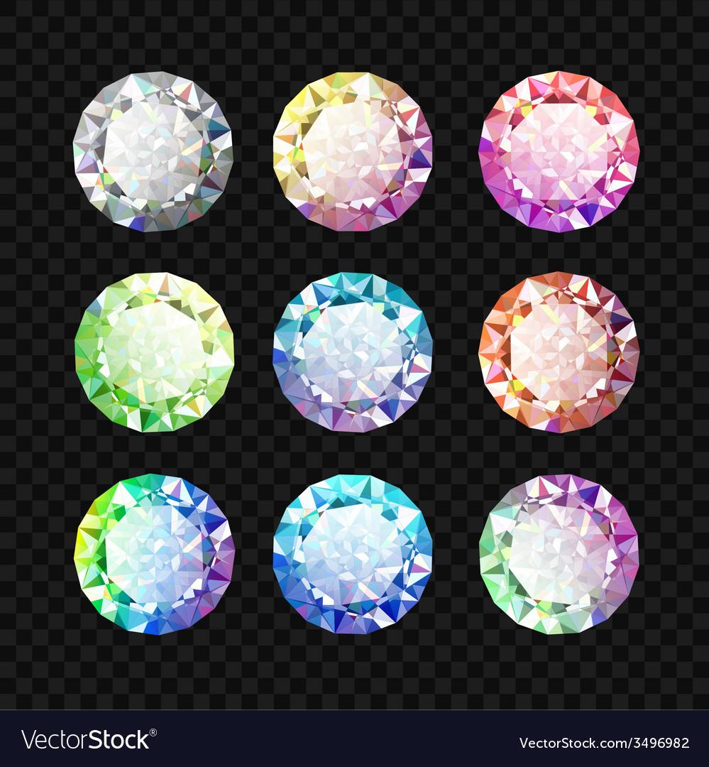 Set of gems diamond set vector | Price: 1 Credit (USD $1)