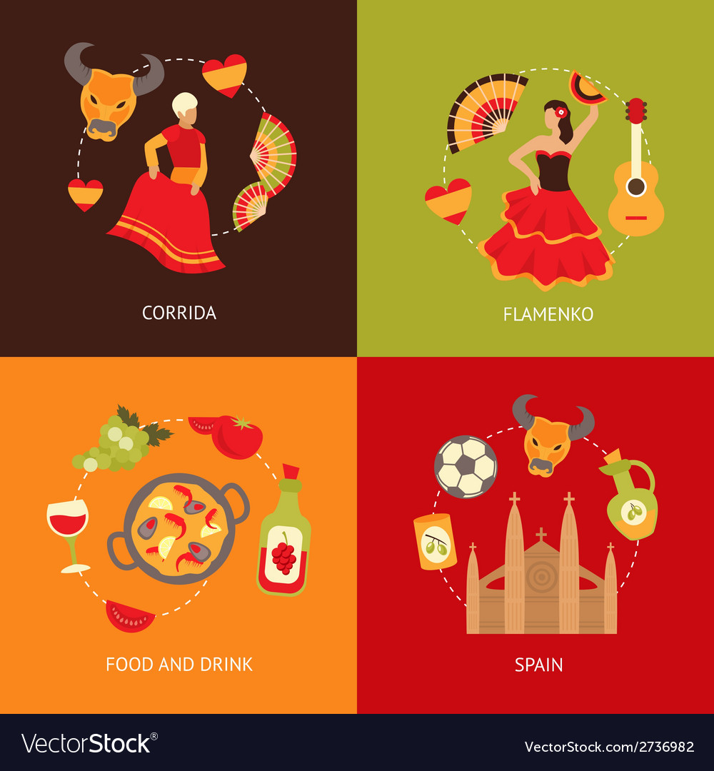 Spain icons composition set vector | Price: 1 Credit (USD $1)