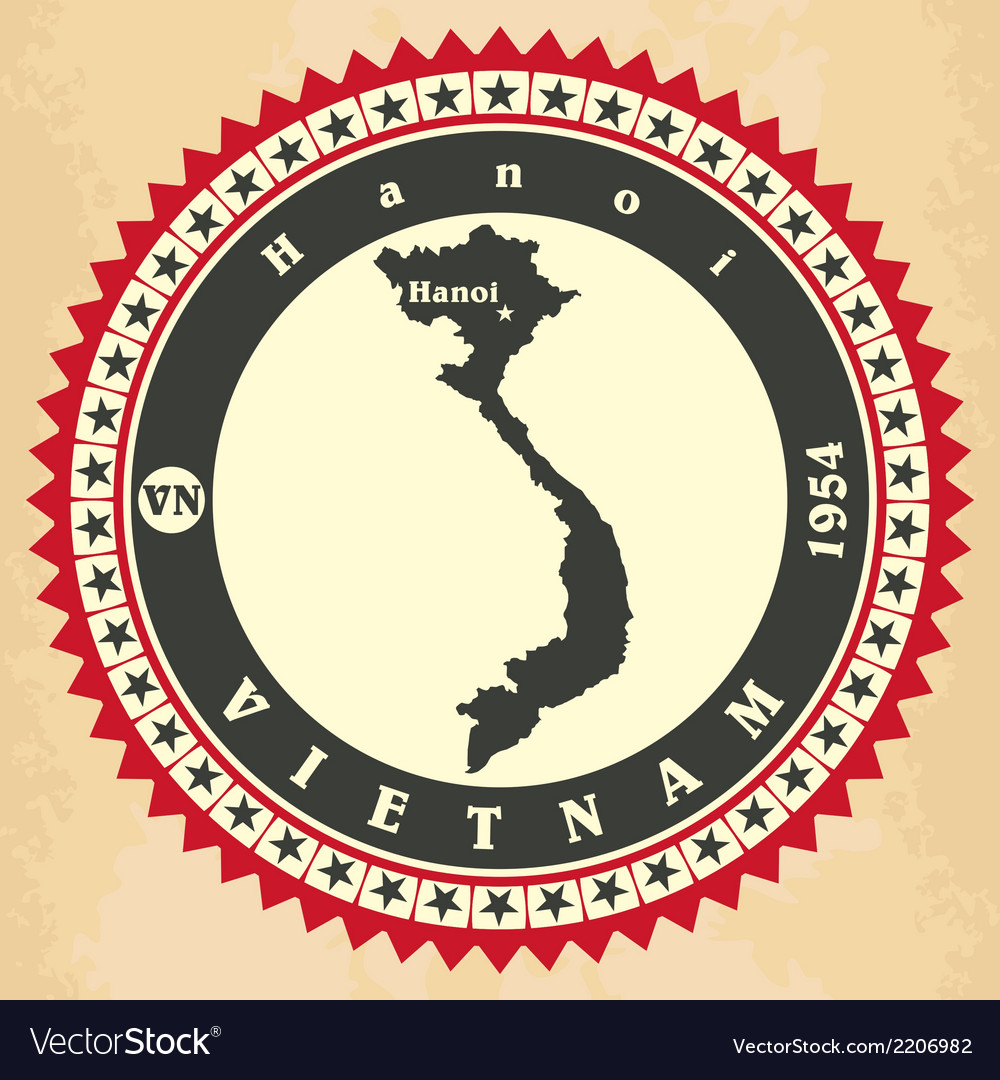 Vintage label-sticker cards of vietnam vector | Price: 1 Credit (USD $1)