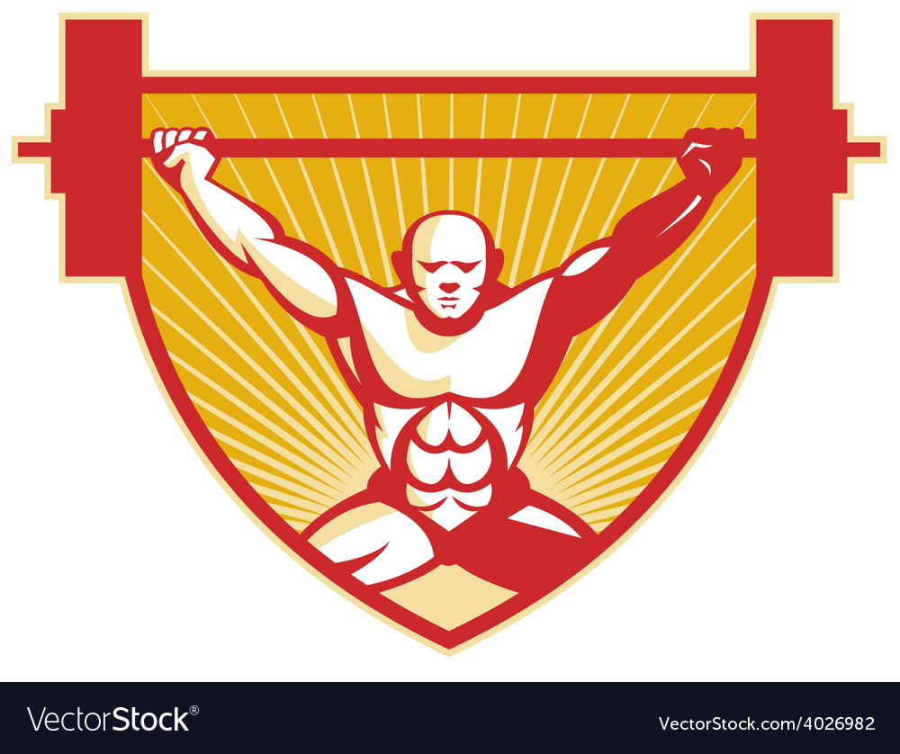 Weightlifter lifting barbell weights retro vector | Price: 1 Credit (USD $1)