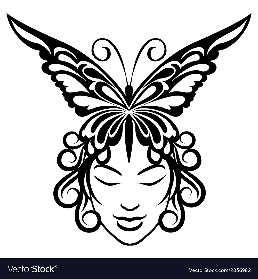 Woman face with butterfly hairdress vector   Price: 1 Credit (USD $1)