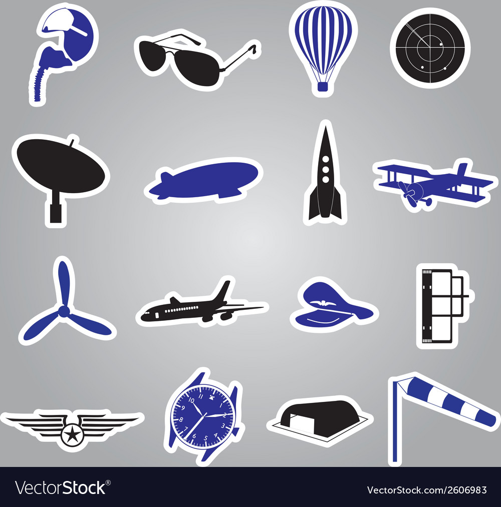 Aeronautical icons stickers eps10 vector | Price: 1 Credit (USD $1)
