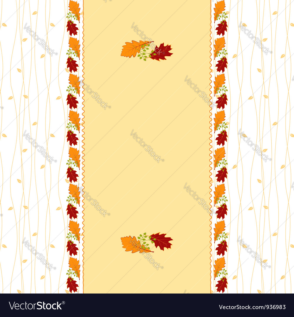 Autumn leaves frame greeting card vector | Price: 1 Credit (USD $1)