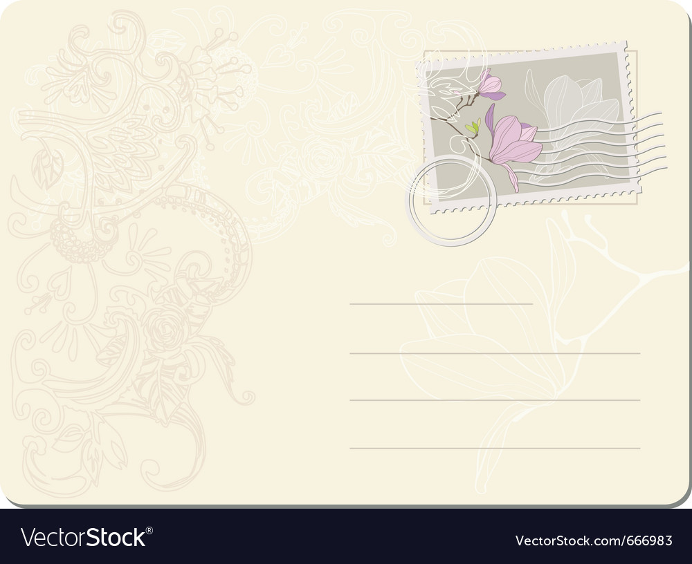 Blank post stamp with magnolia vector | Price: 1 Credit (USD $1)