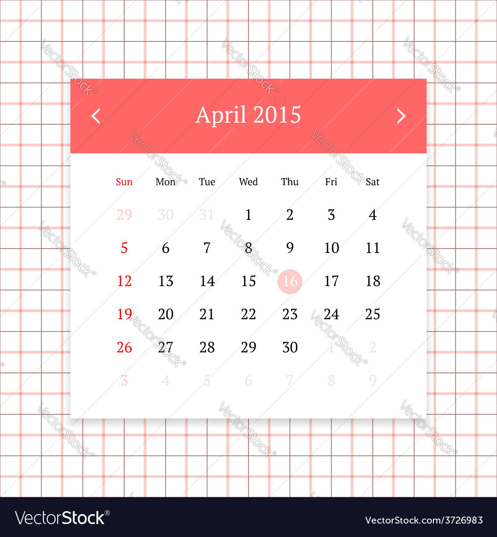 Calendar page for april 2015 vector | Price: 1 Credit (USD $1)