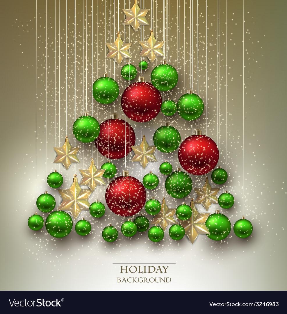 Christmas background with balls xmas tree made vector | Price: 3 Credit (USD $3)